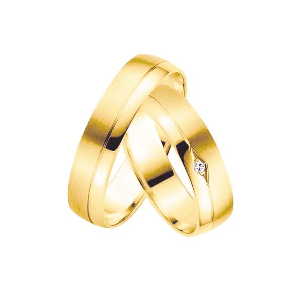 Par de Alianças de Casamento São Petersburgo em Ouro 18k com Diamante