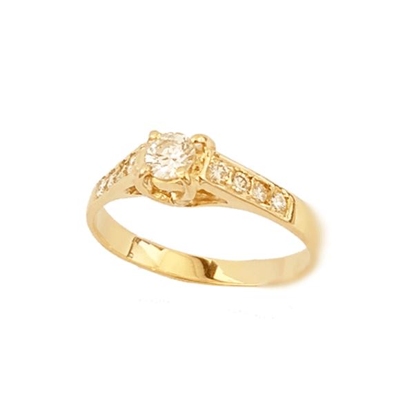 Anel Solitário New York em Ouro com Diamantes de 36 pontos
