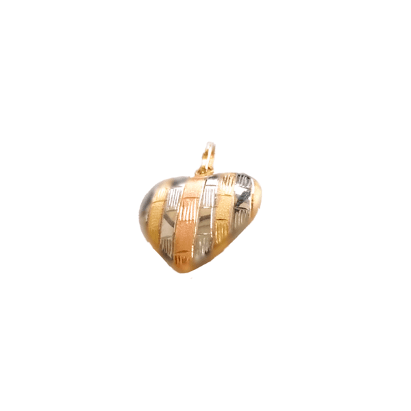 Pingente Feminino Coração em Ouro Tricolor 18k