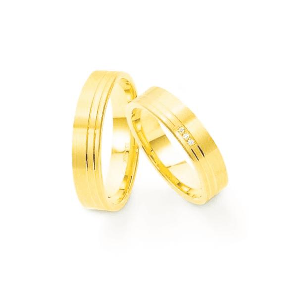 Par de Alianças de Casamento Budapeste em Ouro 18k Com Diamantes
