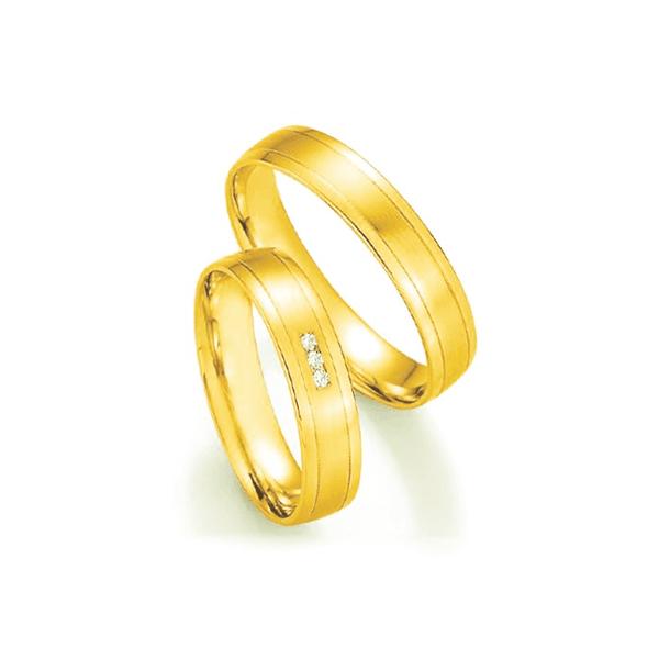 Par de Alianças de Casamento Baku em Ouro 18k com Diamantes
