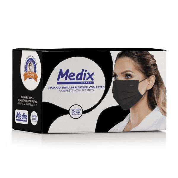 Máscara Descartável Tripla Medix Preta c/ 50