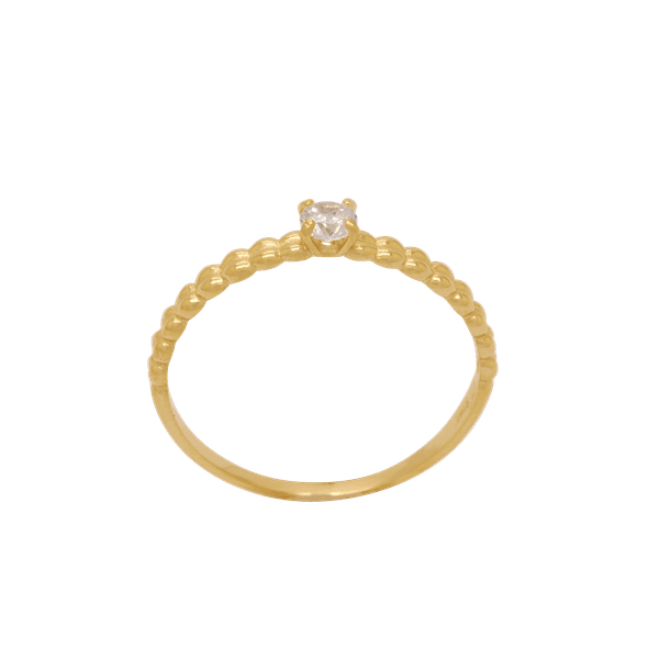anel feminino de ouro com pedra de zircônia