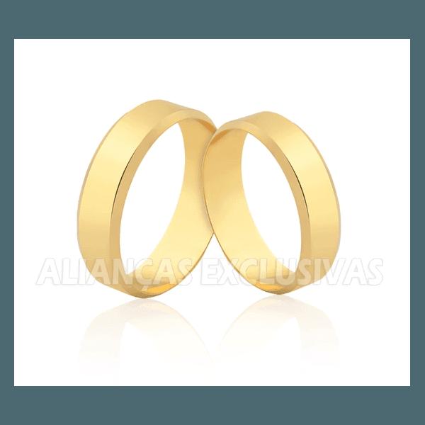 Aliança Chanfrada em Ouro 18k