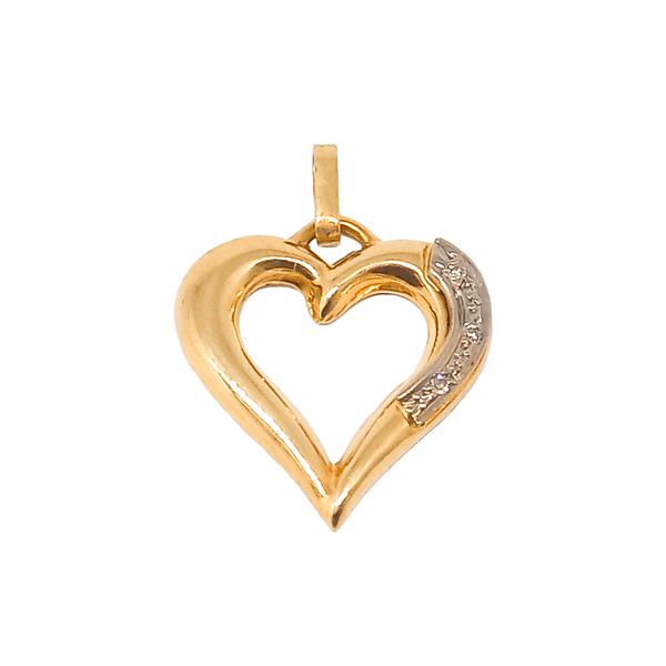 Pingente de Coração Vazado com Ródio Brilhante em Ouro Amarelo 18K