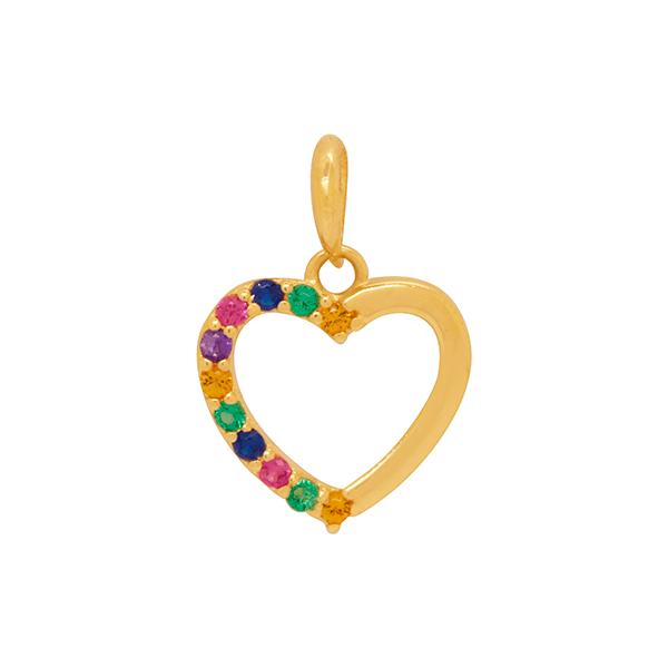 Pingente em Ouro 18K Coração Liso e Cravejado com Zircônias Coloridas