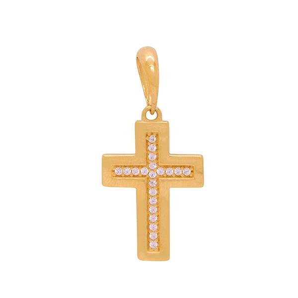Pingente em Ouro Amarelo 18K Cruz Pequena com Zircônias