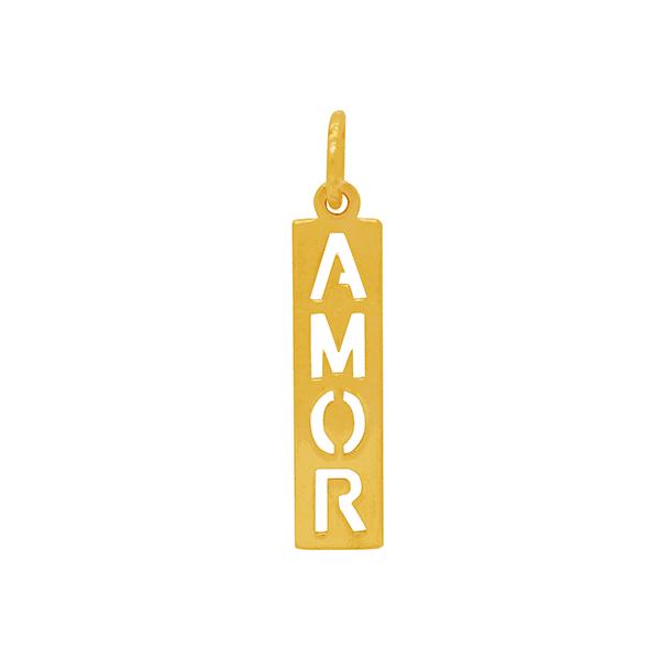 Pingente em Ouro Amarelo 18K Placa Amor Vazado
