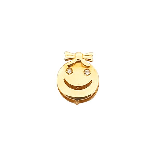 Pingente de Rosto Menina com Laço em Ouro 18K Amarelo