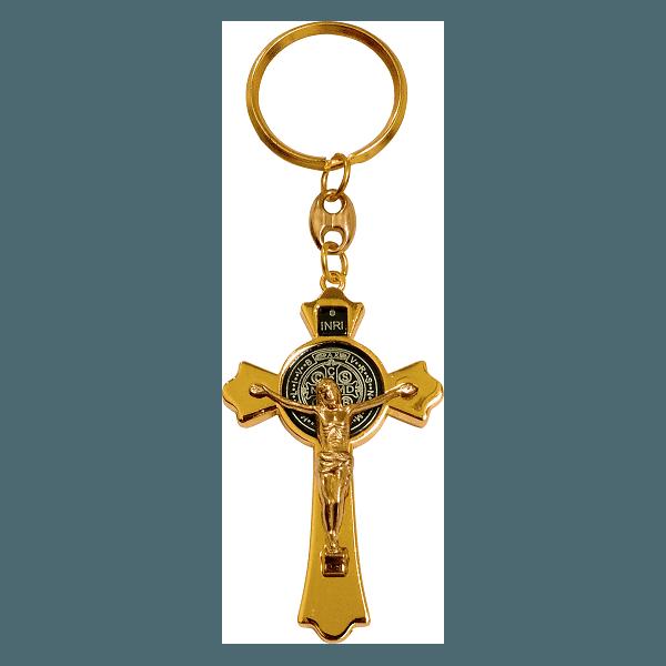 Chaveiro Cruz de São Bento Dourado Importado