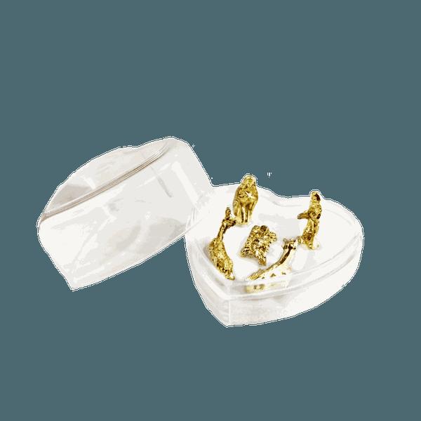 Mini Presépio na Caixa Coração em acrílico
