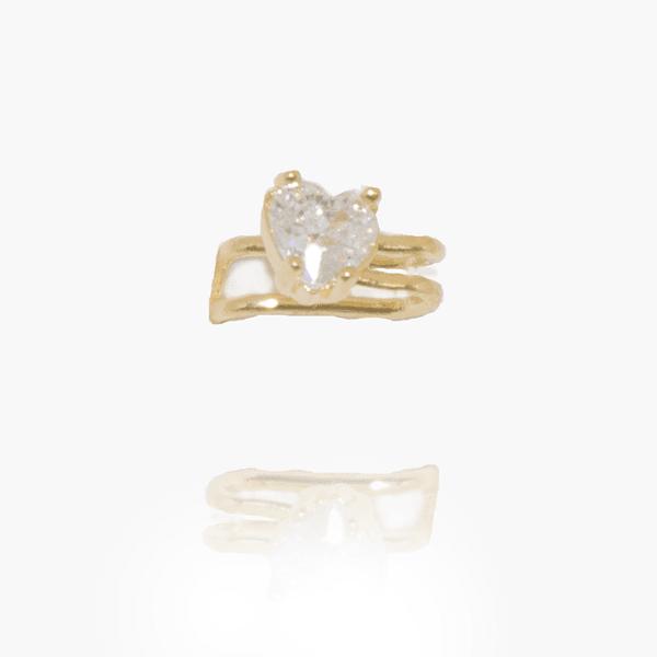 Brinco Piercing Semijoia Banho De Ouro 18k Zircônia Incolor Ponto De Luz Coração