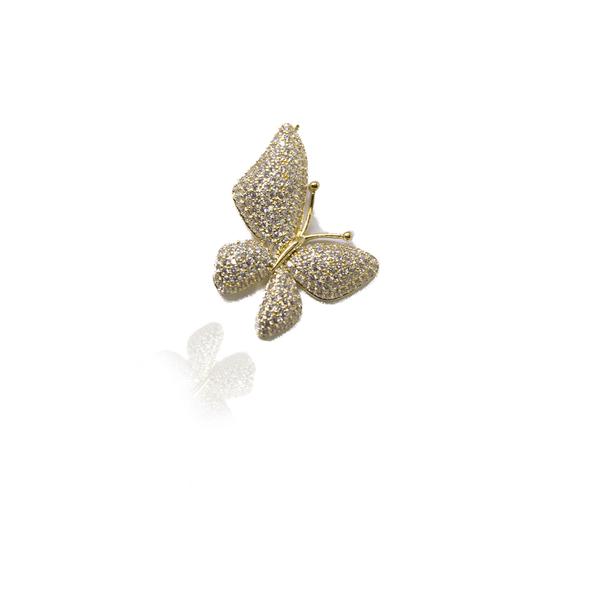 Pingente Borboleta Grande Semijoia Banho De Ouro 18k Zircônia Incolor
