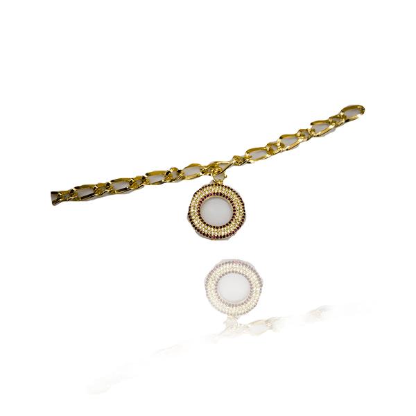 Pulseira Mandala De Zircônia Semijoia Banho De Ouro 18k Bicolor
