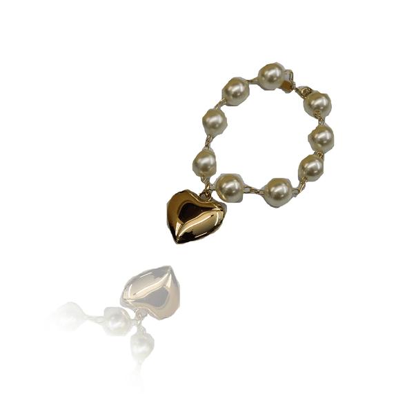 Pulseira Pérola Semijoia Banho De Ouro 18k e Coração