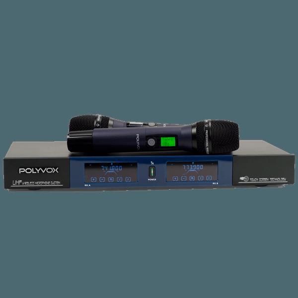 Microfone Profissional Duplo Sem Fio UHF Visor Digital Touch Screen Wireless