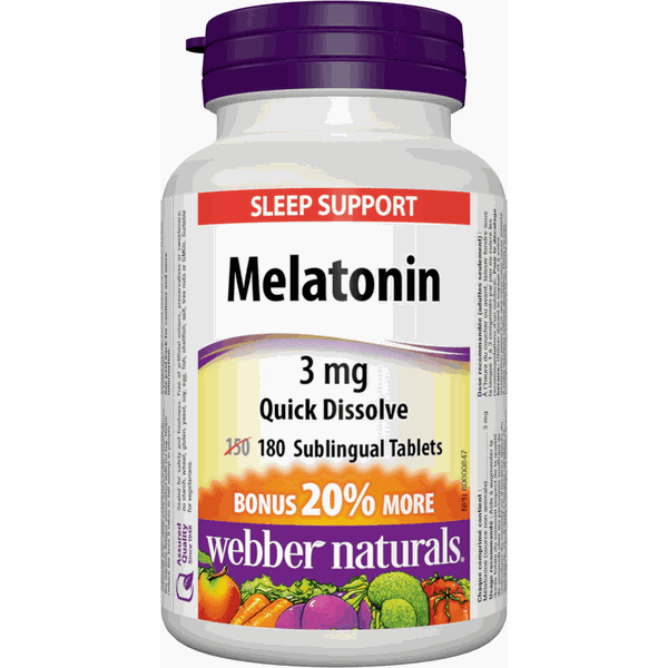 Melatonina Sublingual, Webber Naturals, 3mg, 180 comprimidos