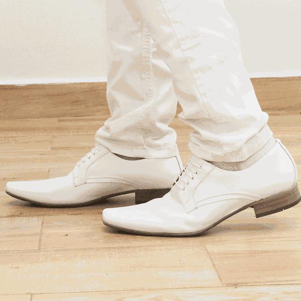 Sapato Branco Masculino Scatamacchia Social com Cadarço