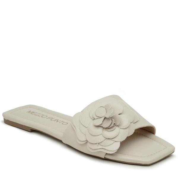 SandÁlia Flat Em COURO VENETO OFF WHITE com aplique floral