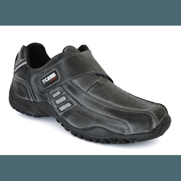 Sapatênis Masculino Velcro Classic Couro Cinza