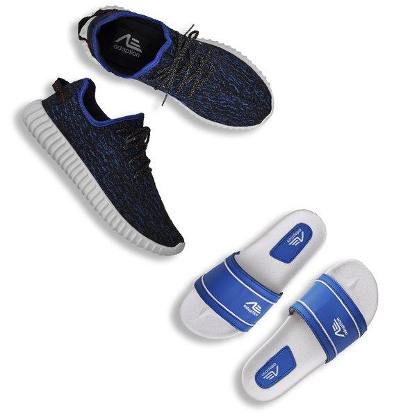 e10ab30154d Kit Tênis Yzy E Chinelo Adaption Azul