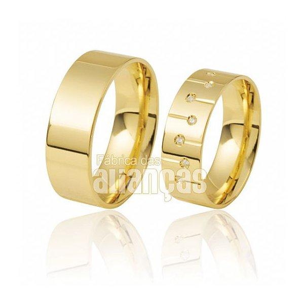 Aliaças de ouro 18k com diamantes