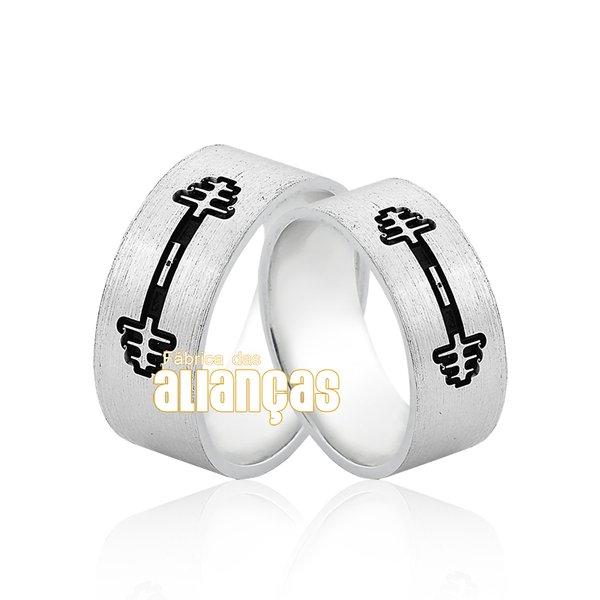 Aliança em Prata 0,950 k Personalizada alterofilismo