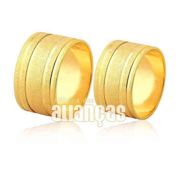 Par de Alianças largas de ouro 18k