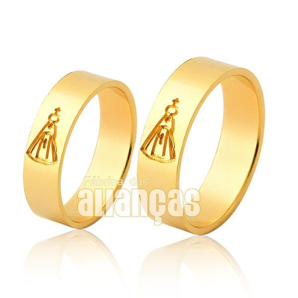 Alianças de ouro 18k com imagem de Nossa Senhora de Aparecida