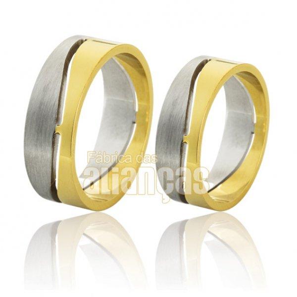 Alianças de Noivado e Casamento em Ouro Amarelo 18k 0,750 FA-748