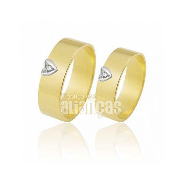 Alianças de Noivado e Casamento em Ouro Amarelo 18k 0,750 FA-308