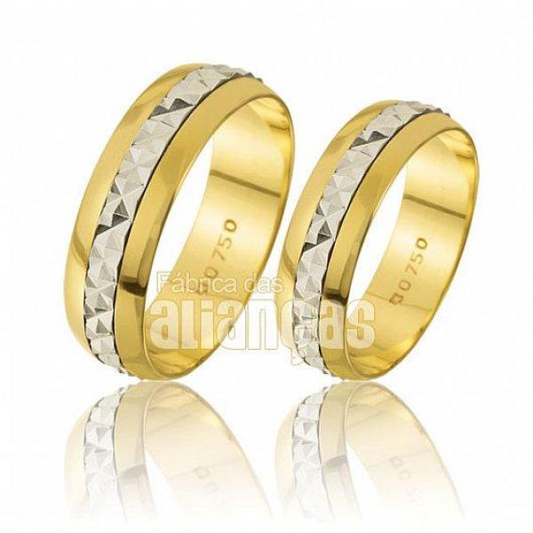 Alianças de Bodas em Ouro Amarelo 18k 0,750 FA-220