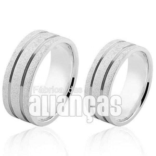 Aliança em Prata 0,950 Reto Diamantada