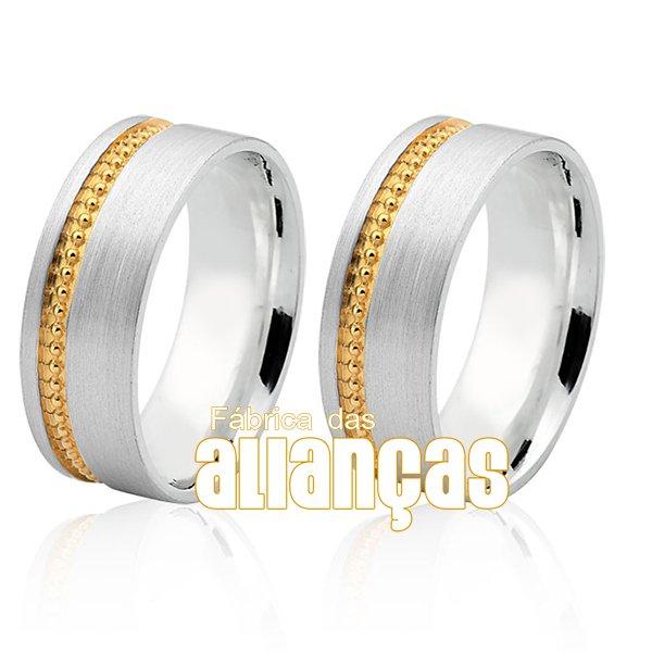 Aliança em Prata com friso banhado a ouro