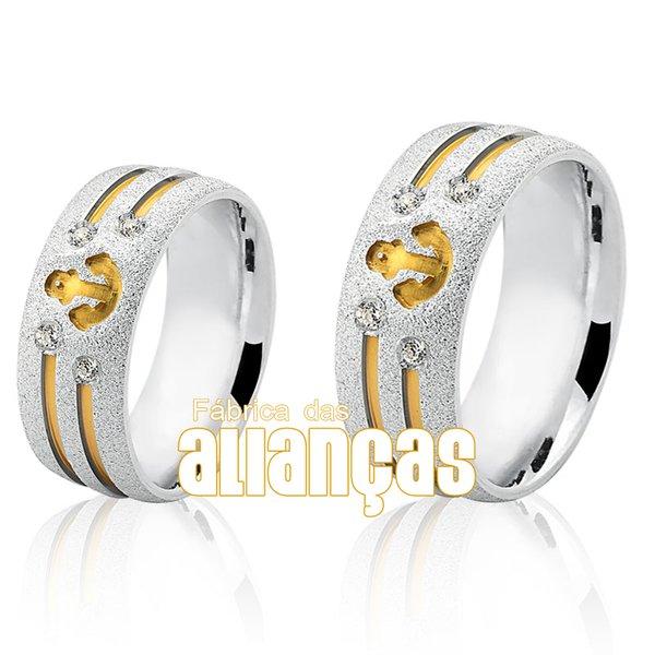 Aliança em Prata com detalhe de âncora banhada a ouro