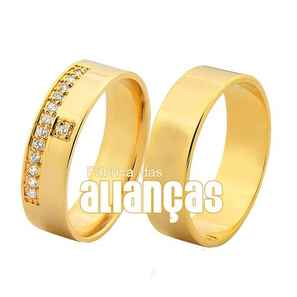 Alianças de Noivado e Casamento em Ouro Amarelo 18k 0,750 FA-1028