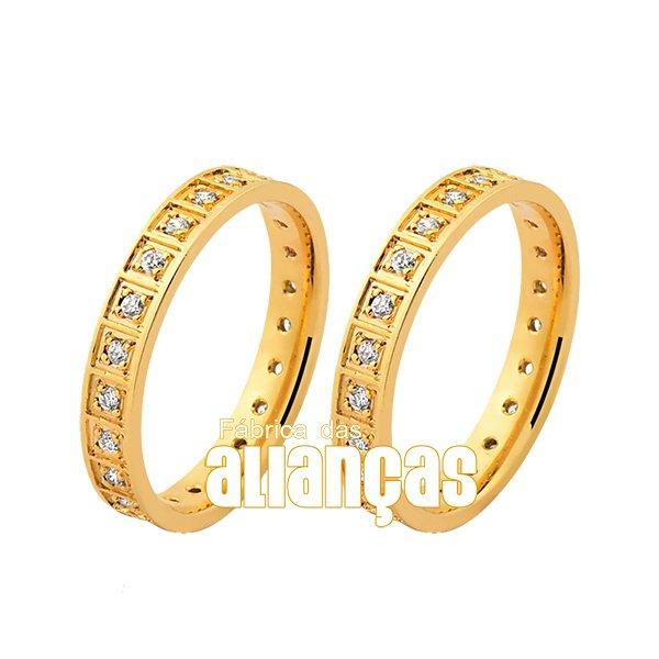 Alianças de Noivado e Casamento em Ouro Amarelo 18k FA-1046