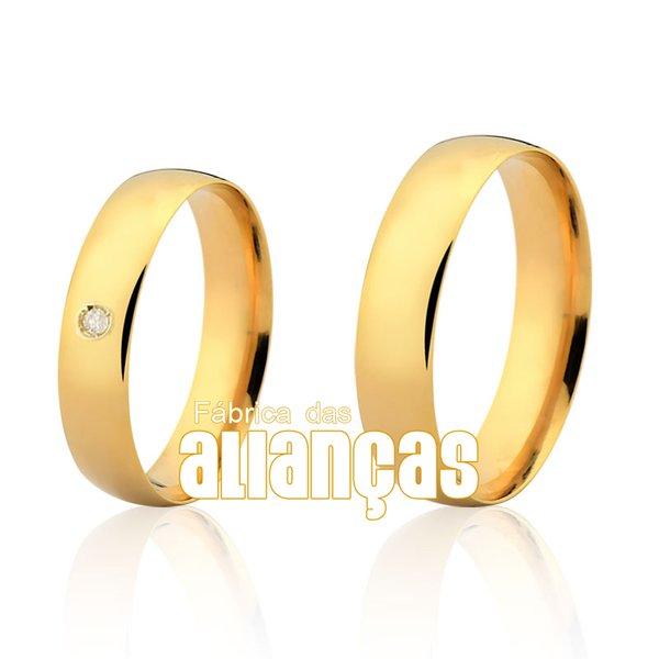 Alianças de Noivado e Casamento em Ouro Amarelo 18k 0,750 FA-163-2