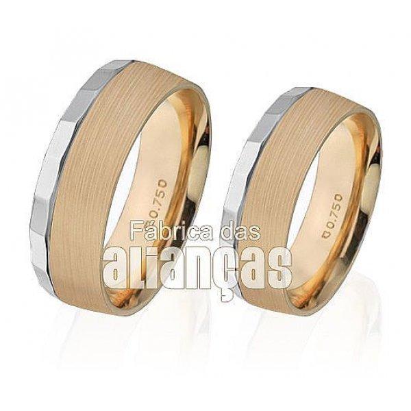 Alianças de Noivado e Casamento em Ouro Amarelo 18k 0,750 FA-254