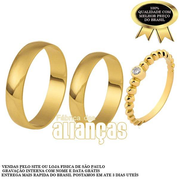 Alianças de Noivado e Casamento em Ouro Amarelo 18k 0,750 Fa-12 -S