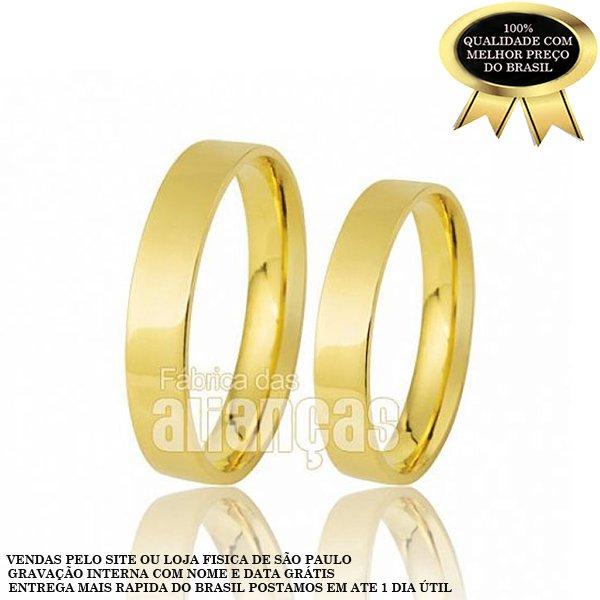 Alianças de Noivado e Casamento em Ouro Amarelo 18k 0,750 FA-167