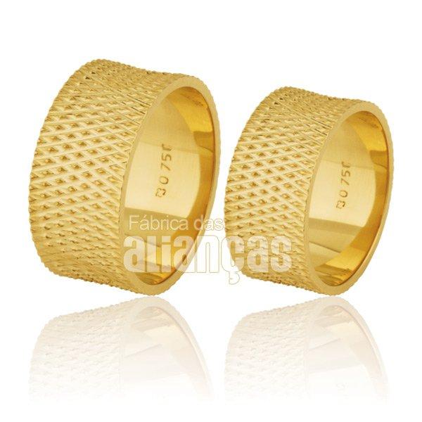 Alianças de Noivado e Casamento em Ouro Amarelo 18k 0,750 FA-213