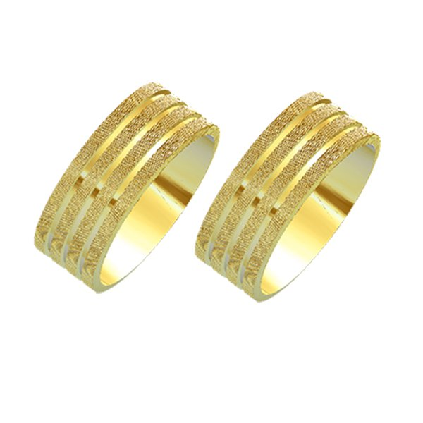 Alianças de Noivado e Casamento em Ouro Amarelo 18k 0,750 FA-MODELO 3 D