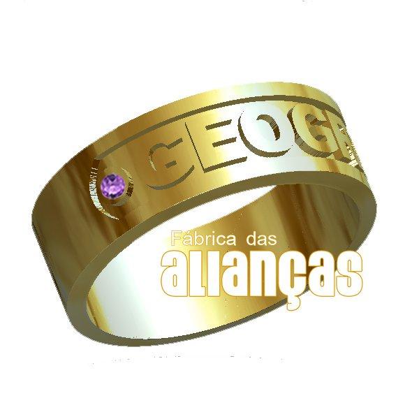 Anel de Formatura de Geografia em Ouro Amarelo 18k 0,750 FA-1006-N