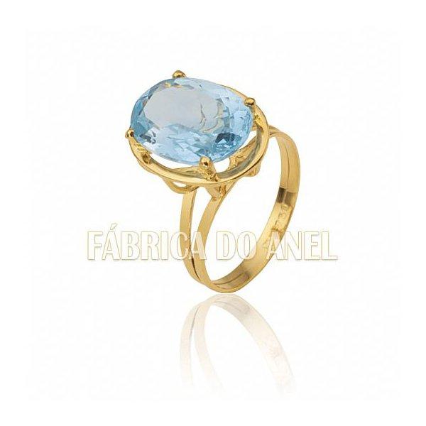 Anel Feminino Topázio Azul em Ouro Amarelo 18k 0,750 AN-07-T