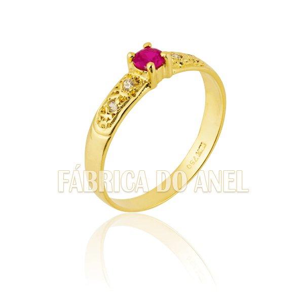 Anel Feminino Rubi em Ouro Amarelo 18k 0,750 AN-10-R