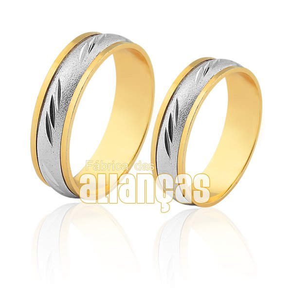 Alianças de Bodas em Ouro Amarelo 18k 0,750 FA-512