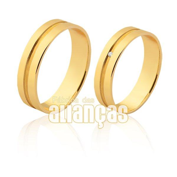 Alianças de Noivado e Casamento em Ouro 18k 0,750 FA-1117