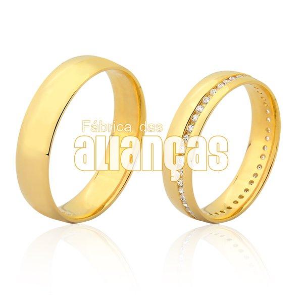 Alianças de Noivado e Casamento em Ouro 18k 0,750 FA-1119-Z