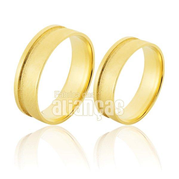 Alianças de Noivado e Casamento em Ouro Amarelo 18k 0,750 FA-509